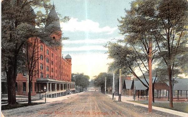 Lower Main Street Clifton Springs, New York Postcard