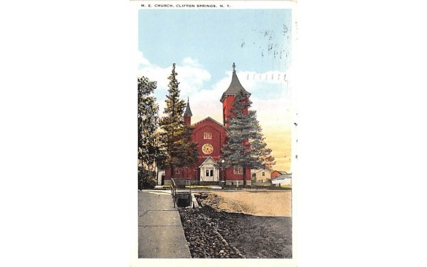 ME Church Clifton Springs, New York Postcard