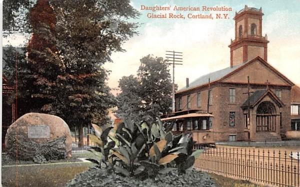 Daughters' American Revolution Glacial Rock Cortland, New York Postcard
