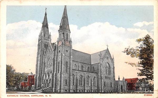 Catholic Church Cortland, New York Postcard