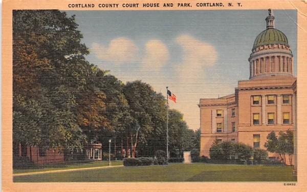 Cortland County Court House & Park New York Postcard