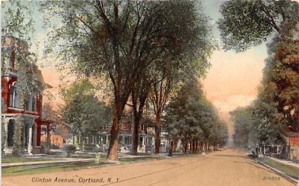 Clinton Avenue Cortland, New York Postcard
