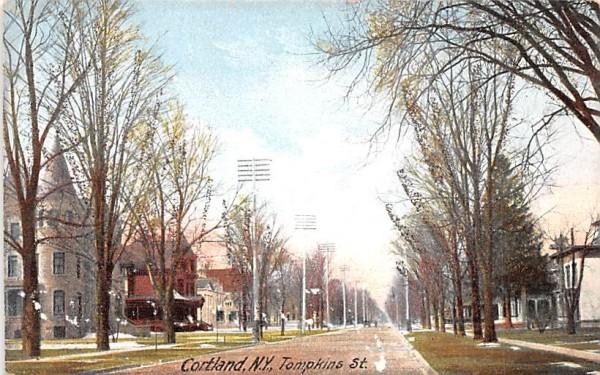 Tompkins Street Cortland, New York Postcard
