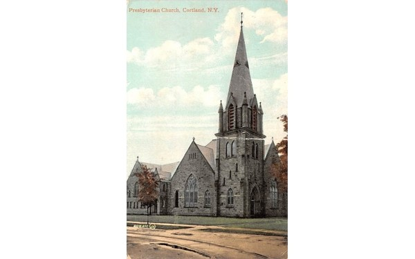 Presbyterian Church Cortland, New York Postcard
