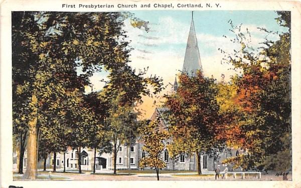 First Presbyterian Church & Chapel Cortland, New York Postcard