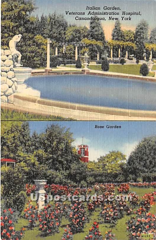 Italian Garden, Veterans Administration Hospital - Canandaigua, New York NY Postcard