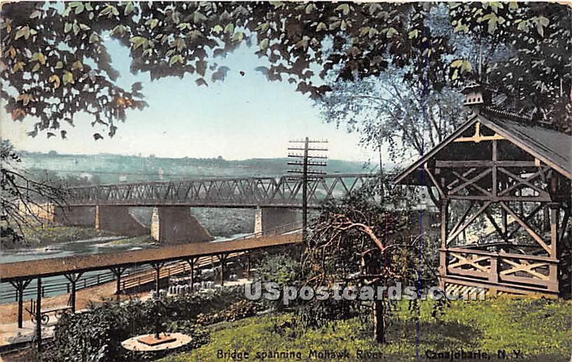 Bridge, Mohawk River - Canajoharie, New York NY Postcard