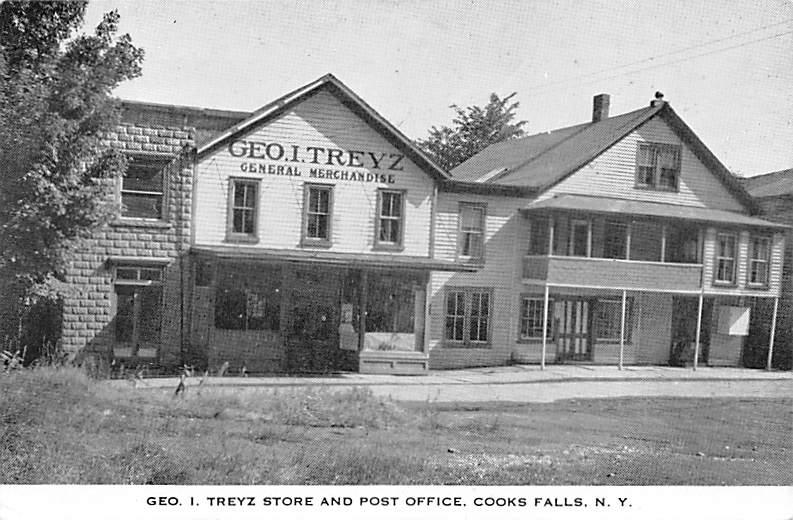 Geo I. Treyz Store and Post Office - Cooks Falls, New York NY Postcard