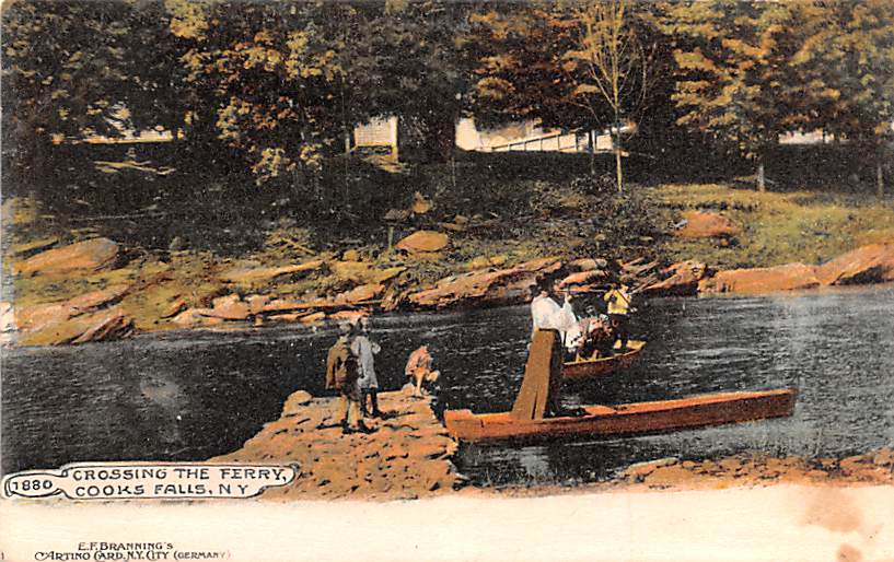 Crossing The Ferry - Cooks Falls, New York NY Postcard