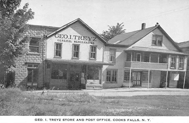 Post Office and Geo I. Treyz Store - Cooks Falls, New York NY Postcard
