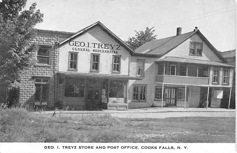 Post Office, Geo I. Treyz Store - Cooks Falls, New York NY Postcard