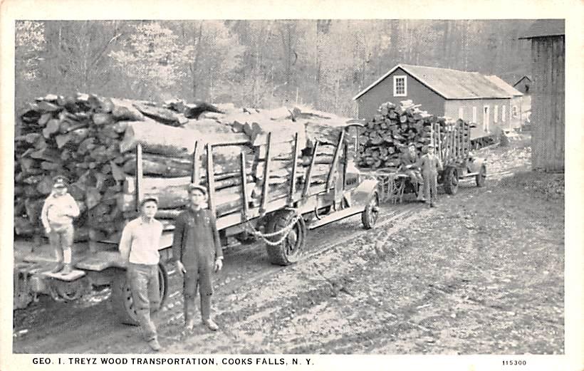 Geo I Treyz Wood Transportation - Cooks Falls, New York NY Postcard