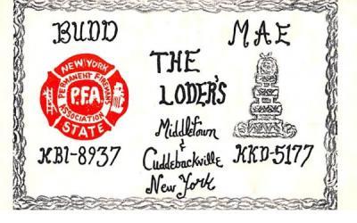 The Loder's Cuddebackville, New York Postcard