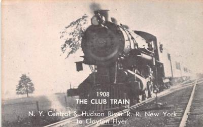 1908 The Club Train Clayton, New York Postcard