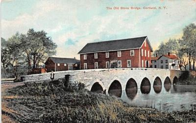 The Old Stone Bridge Cortland, New York Postcard