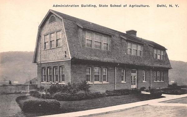 Administration Building Delhi, New York Postcard