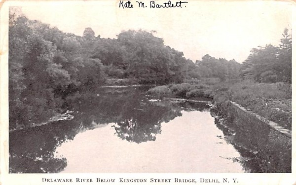 Delaware River below Kingston Street Bridge Delhi, New York Postcard