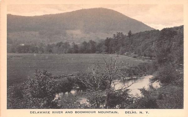 Delaware River & Boomhour Mountain Delhi, New York Postcard