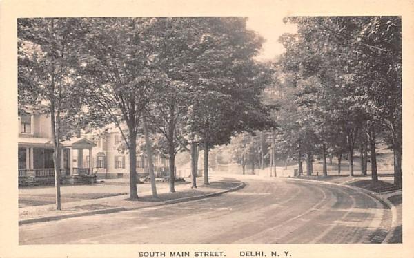 South Main Street Delhi, New York Postcard