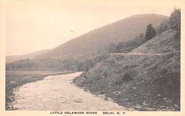 Little Delaware River Delhi, New York Postcard