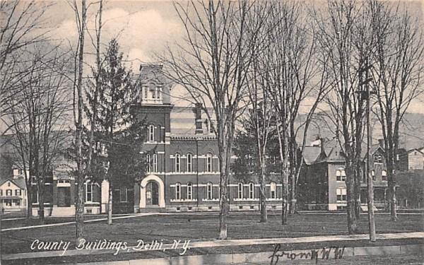County Buildings Delhi, New York Postcard