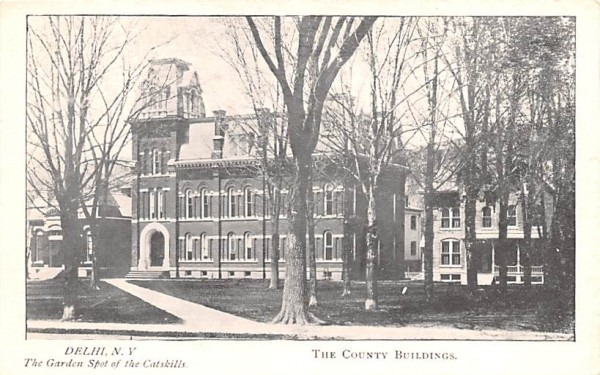 The County Buildings Delhi, New York Postcard