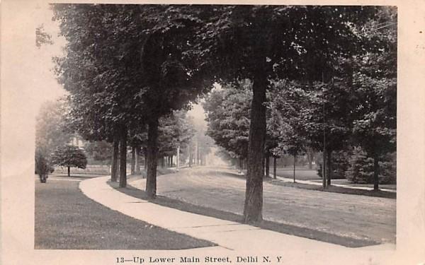 Lower Main Street Delhi, New York Postcard