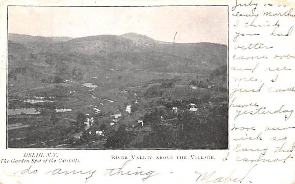 River Valley above the Village Delhi, New York Postcard