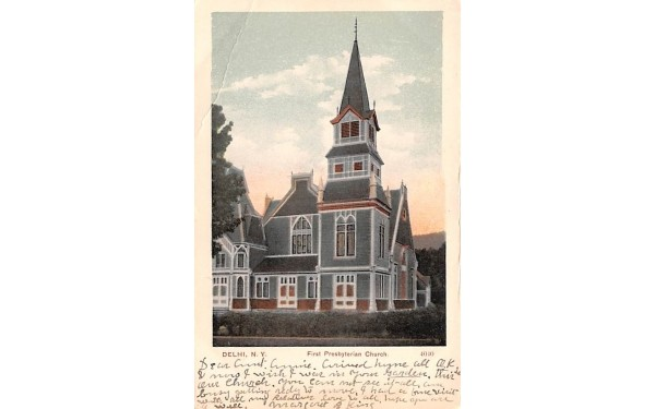 First Presbyterian Church Delhi, New York Postcard