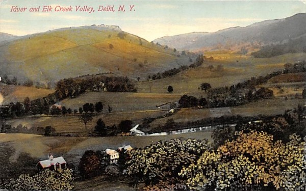River & Elk Creek Valley Delhi, New York Postcard