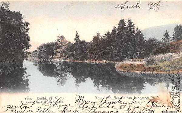 Down the River from Kingston Delhi, New York Postcard