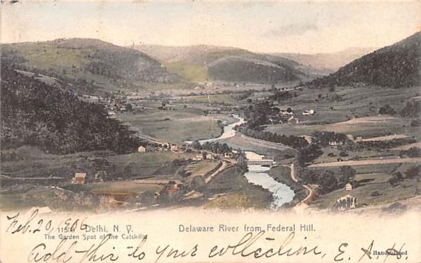 Delaware River from Federal Hill Delhi, New York Postcard