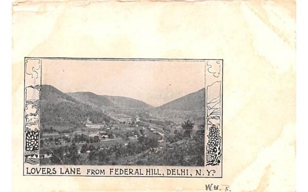 Lovers Lane Delhi, New York Postcard