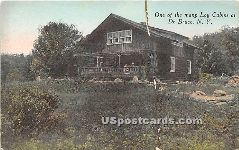 One of the many Log Cabins - De Bruce, New York NY Postcard