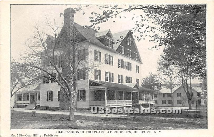 Old Fashioned Fireplace at Cooper's - De Bruce, New York NY Postcard