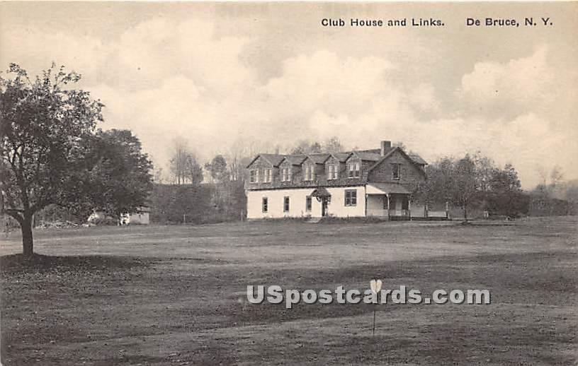 Club House and Links - De Bruce, New York NY Postcard
