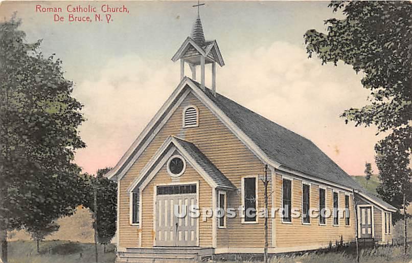 Roman Catholic Church - De Bruce, New York NY Postcard