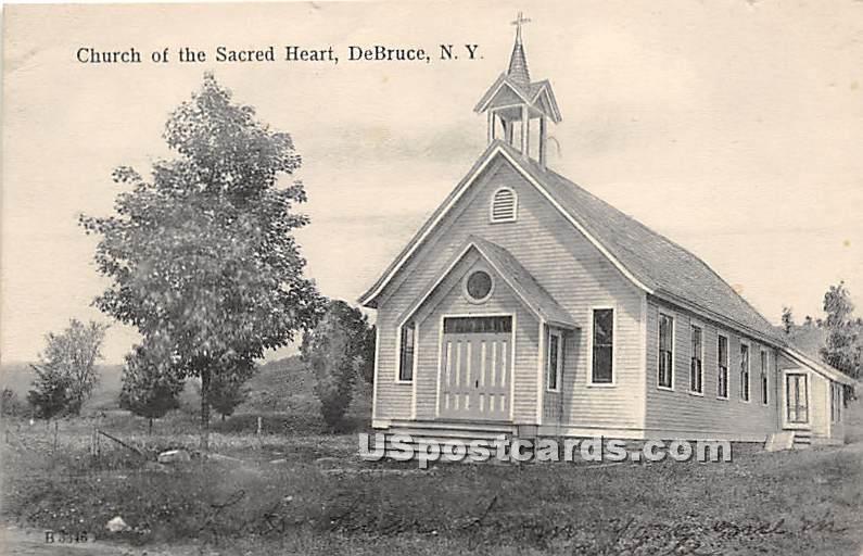 Church of the Sacred Heart - De Bruce, New York NY Postcard