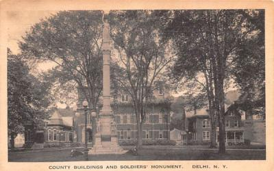 County Building & Soldiers' Monument Delhi, New York Postcard