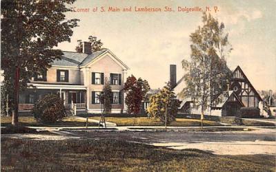 Corner of S Main & Lamberson Streets Dolgeville, New York Postcard