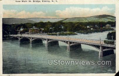 New Main Street Bridge - Elmira, New York NY Postcard