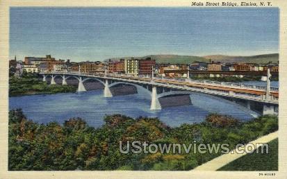 Main Street Bridge - Elmira, New York NY Postcard
