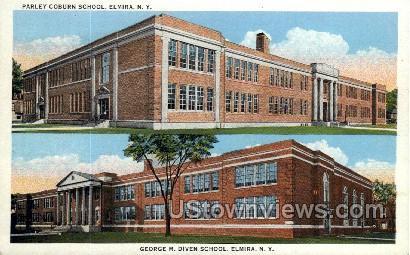 George M. Diven School - Elmira, New York NY Postcard