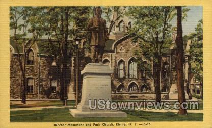 Beecher Monument - Elmira, New York NY Postcard