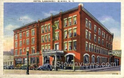 Hotel Langwell - Elmira, New York NY Postcard