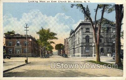 East Church St. - Elmira, New York NY Postcard