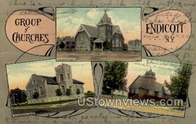 Group of Churches - Endicott, New York NY Postcard