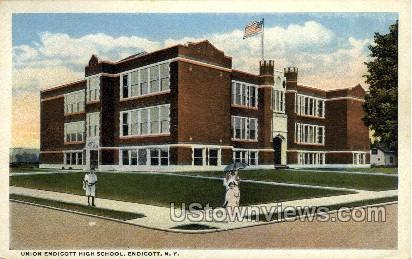 High School - Endicott, New York NY Postcard