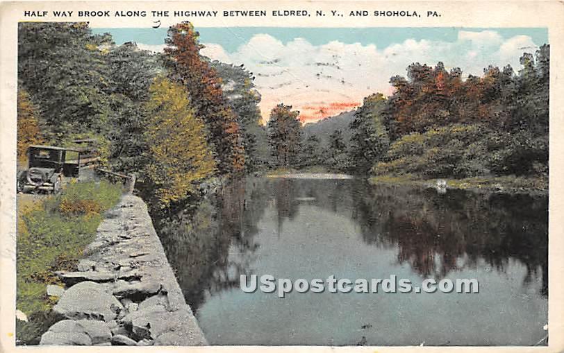 Half Way Brook along the Highway - Eldred, New York NY Postcard