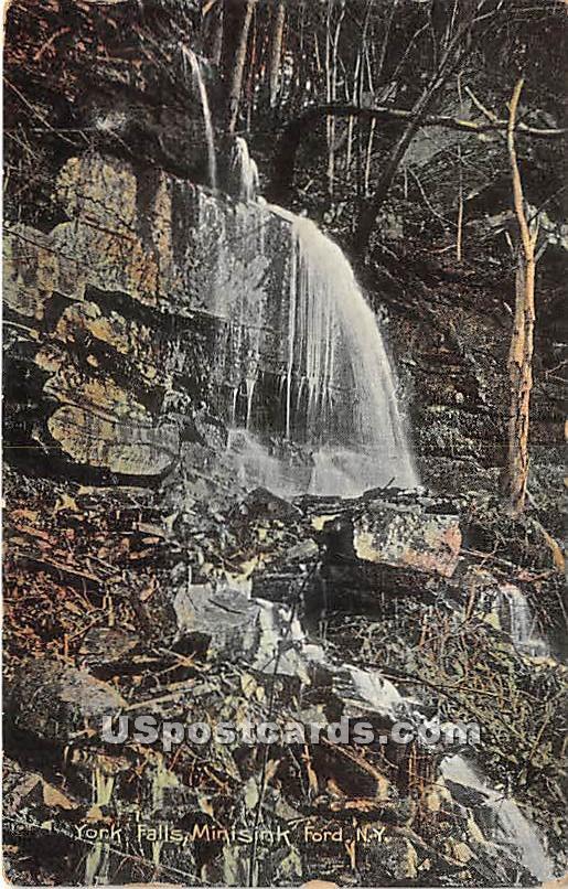 York Falls - Eldred, New York NY Postcard